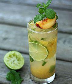 Peach Mojito (1.5 oz white rum 1 small peach 4-5 mint leaves 1 tsp sugar Juice from 1/2 lime Club soda)