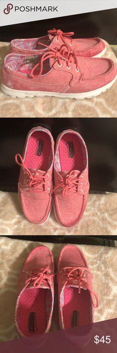 Skechers Go Walk Flash Womens 8.5 Lace Up Walking Shoes Blue Pink EUC