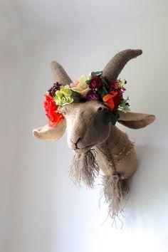 Handmade hessian jute patchwork goat with flower crown. Headdress farm animal