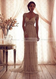 Hot A-Line Cap Sleeve Deep V-Neck Appliqued Bowknot Chapel Trailing Wedding Dresses