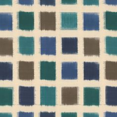 Out of the Blue:  This fabric features a grid pattern of teal, royal blue, green and brown squares on a beige background.