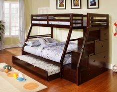 Practical beauty describes this ultra functional, durable and good looking twin over full size bunk bed in a rich espresso finish. This set features a pull out sleep trundle unit, a staircase to top that has front facing extra storage drawers. Constructed of hardwoods for durability. Product Information: