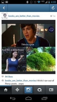 I laughed too hard at this... <------ my laughter faded when I saw that they used the Brunette Annabeth.