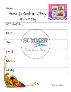 How to Cook a Turkey! ~ Pre-Write and Writing activity from SummerBloom