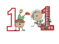 Stickdatei Stickmuster Geburtstag Junge Zahlen von lollikids auf DaWanda.com