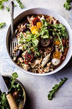 Mediterranean Chicken and Farro Salad.
