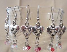 Silver Daisy Hearts & Crystals Dangle Earrings by Pizzelwaddels, $17.97