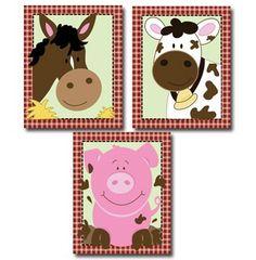 Farm Animals Pig, Cow, Horse Barnyard Nursery Art / Prints Only Farm Nursery, Church Nursery, Nursery Art, Nursery Ideas, Cow Baby Showers, Baby Wise, Farm Quilt, Horse Party, Farm Crafts