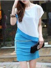 Round Neck Short Sleeve Chiffon Casual Dress