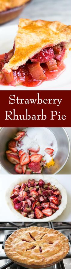 The BEST Strawberry Rhubarb Pie recipe! Sweet fresh strawberries paired with tart rhubarb and a hint of orange zest. On SimplyRecipes.com
