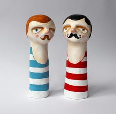 The bathers two finger puppets by sweetbestiary on Etsy