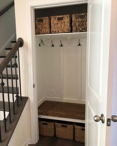 My weekend project! I hated my closet so much. My weekend project! I hated my closet so much. Before and after pictures included. hallway closet o. Hallway Closet, Front Closet, Closet To Mudroom, Laundry Closet, Small Coat Closet, Closet Bench, Cleaning Closet, Entryway Stairs, Closet Office