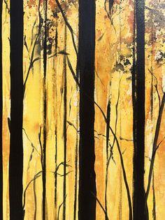 Ursprüngliche Landschaftsmalerei Wald Bäume von newwaveartgallery