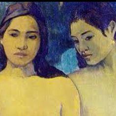 """""""Ragazze Thaitiane"""" Gauguin; egli trascorse nell'isola gran parte della sua maturità,prendendo spunto dall'esempio di Manet e descrivendo con forme semplici ed espressive donne e oggetti di un mondo esotico.Da notare le sagome, solide nella forma e nel colore,del corpo e dei capelli delle ragazze,contrapposte al tratto leggero ed espressivo dei lineamenti."""