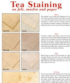 DIY Tea Staining Guide (Free PDF) Give paper, cotton fabric and wool felt a timeworn appearance with these handy tea-staining tips! Fabric Crafts, Paper Crafts, Diy Crafts, Preschool Crafts, Craft Tutorials, Craft Projects, Craft Ideas, Decorating Ideas, Diy Stamps