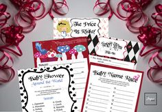 Alice in Wonderland Printable Baby Shower Games Bingo Word