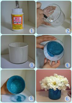 DIY glitter vase // This would be SUPER easy! I like the idea of doing the glitter on the inside, that way it's not shedding glitter everywhere. We'd need to make sure that the Modge Podge holds up ok though if we need to put water to keep the flowers alive. Or maybe a vase within the vase? Hmmm...