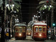 Streetcars at Christmas in New Orleans