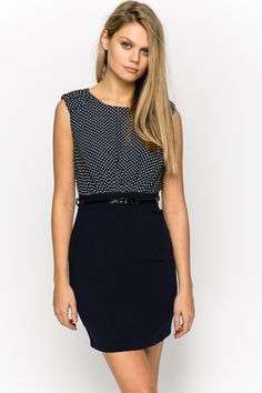 Contrast Dotted & Belted Dress @ Everything5pounds.com