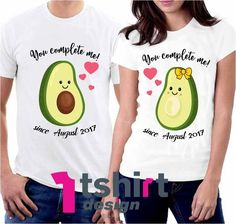 You Complete me Avocado Matching t shirts. Personalized Shirts for Couples. His And Her Couple Tees. Funny Couple Shirts, Disney Couple Shirts, Matching Disney Shirts, Couple Tees, Couple Tshirts, Family Shirts, Eduardo E Monica, Avocado Shirt, Matching Couple Outfits