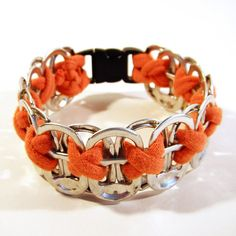 Items similar to Upcycled Soda Pop Tab and Bright Orange Tee-Shirt Bracelet on Etsy Pop Tab Bracelet, Bracelet Making, Jewelry Making, Recycled Art Projects, Diy Craft Projects, Craft Ideas, Crafts To Sell, Fun Crafts, Recycle Crafts