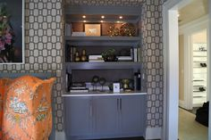 Gray Built Ins, Contemporary, living room, Ciuffo Cabinetry