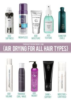 air drying HAIR products - add living proof curl enhancing styling mousse if you're going to curl later to hold it