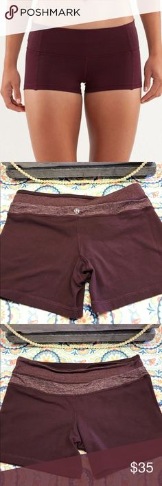 ‼️FLASH SALE ‼️Lululemon Boogie Shorts 🔸Burgundy and reversible🔸Gently Used 🔸Size 6       Please let me know if you have any questions at all! Happy Poshing! 🌺 lululemon athletica Shorts