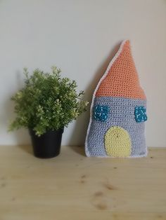 Handmade Crochet house pillow crochet toy and by Hookloopsarah