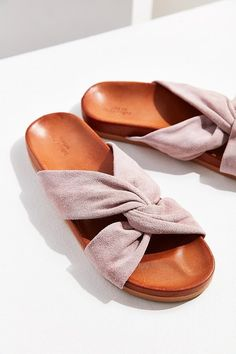 Suede Twist Slide sandal