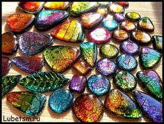 Alcohol inks over polymer clay, resin coated vk.com