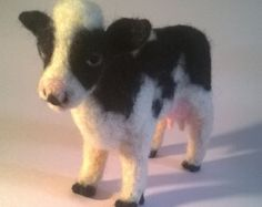 Esmeralda. One-of-a-kind Needle Felted Cow by sunnyfaces on Etsy