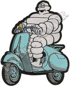 Michelin Man on Vespa, Woven Iron on Patch, Scooters, Mods | eBay