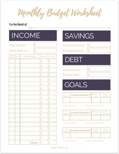 Fix Your Finances ASAP with My (Free) Simple Monthly Budget Template Cute Free Printable Budget Worksheet Templates for Organizing Your Finances / Monthly 2017 2018 / College , For Young Adults Budgeting Tips / Purple PDF Planners /