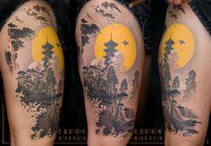 Beautiful landscape tattoo.