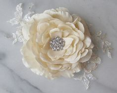 Handmade Silk Flower Applique with Lace Bridal by TheRedMagnolia