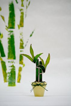 Stained Glass Suncatcher Lucky Bamboo by GalaGardens on Etsy, $25.50