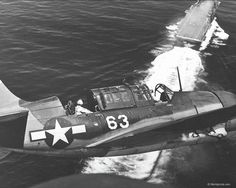 A Curtiss SBC2 Helldiver banks for landing on the USS Yorktown.  Despite being the most heavily produced dive-bomber of the age, only a single airworthy example has survived.