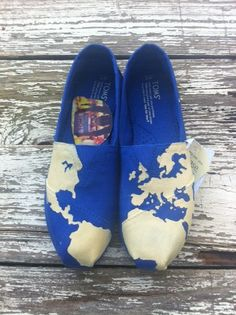 Custom hand painted TOMS, Travel Around the World in Eighty Days on Etsy, $65.00