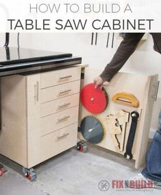 How to build a Table Saw Cabinet. Get DIY storage plans to organize your shop. This mobile cabinet will hold all your table saw accessories, jigs, and blades. Video tutorial and plans available! Home Made Table Saw, Best Table Saw, Table Saw Stand, Diy Table Saw, Table Saw Workbench, Table Saw Jigs, Woodworking Shop, Woodworking Crafts, Woodworking Plans