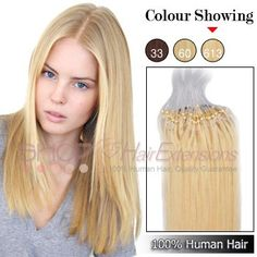 18 Inch 100s Micro Loop Ring Premium Remy Hair Extensions(#613 Lightest Blonde)