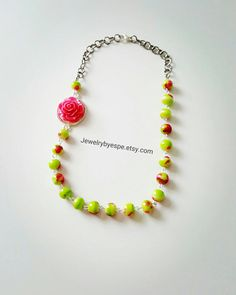 Hey, I found this really awesome Etsy listing at https://www.etsy.com/listing/473442001/flower-rose-necklace-pink-necklace-green