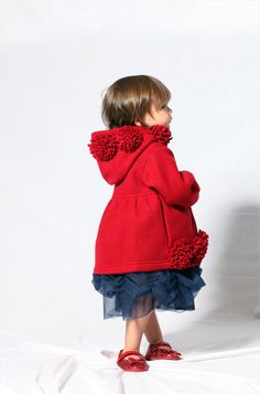 1e3fa26058 Bunnies Picnic - Kate Mack Dozen Roses Hooded Polar Jacket in Red FREE  SHIPPING boutique designer
