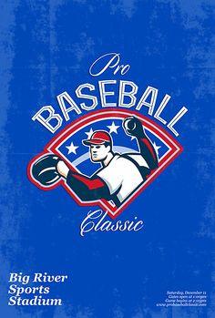 Pro Baseball Classic Tournament Retro Poster by patrimonio
