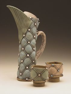 Beautiful Pottery Pitcher & Cups by Applaud Women