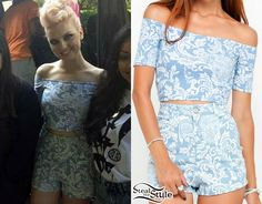 Little Mix girls pose with a fan in Phoenix today. Perrie Edwards wore a Dana Off Shoulder Crop Top ($45.00) with the Mizzy Denim Hot Pants ($70.00) by Motel.