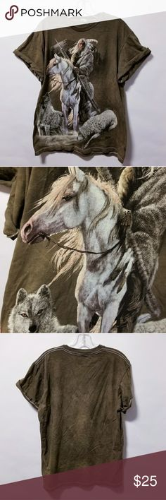 Vintage horse wolf Indian animal print t shirt Vintage horse wolf Indian animal print t shirt  Chest-42 inches Length-28 inches Vintage Tops Tees - Short Sleeve