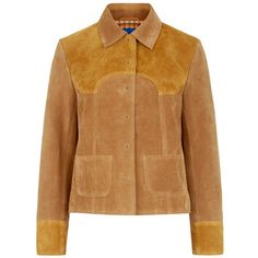M.i.h Jeans Two-Tone Suede Estero Jacket ($1,105) ❤ liked on Polyvore featuring outerwear, jackets, yellow, studded jacket, brown jacket, mih, yellow jacket and suede leather jacket