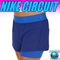 NIKE Dri Fit Circuit 2 in 1 Women's Training Shorts Navy/Royal Size Small NWT #Nike #Shorts