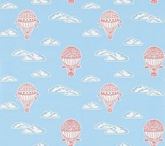 Balloons  (214030) - Sanderson Wallpapers - Hot air balloons float across a cloud filled sky. Shown drawn in red on sky blue with fluffy white clouds.  Please request sample for true colour match.